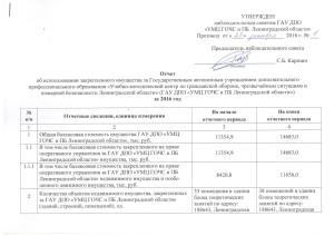 Отчет об использовании закрепленного имущества за УМЦ за 2016 г.